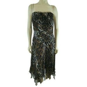 SALE Tadashi Shoji Silk Animal Print Formal Dress